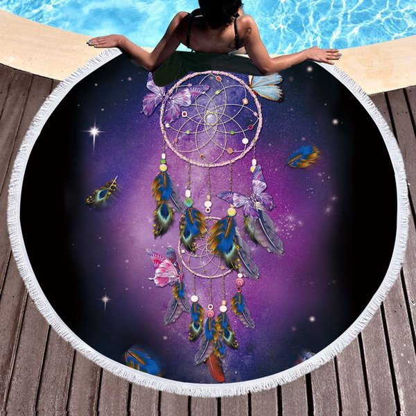 Chegada nova dreamcatcher borla tapeçaria borboleta bohemian rodada toalha de praia toalla roxo sunblock cobertor 150 cm yoga mat