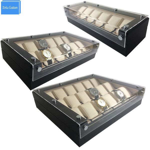 Di alta lusso 6/12/18 Grids Lucency acrilico display scatole di immagazzinaggio scatole caso ora in pelle nera in legno vendita di aiuto