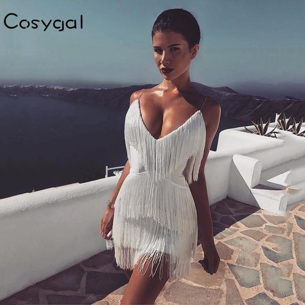 COSYGAL Vestido con borla sexy Cuello en v Mini vestido blanco rojo negro Correa de espagueti de verano Vestidos de fiesta de celebridades por la noche 2018 Vestidos