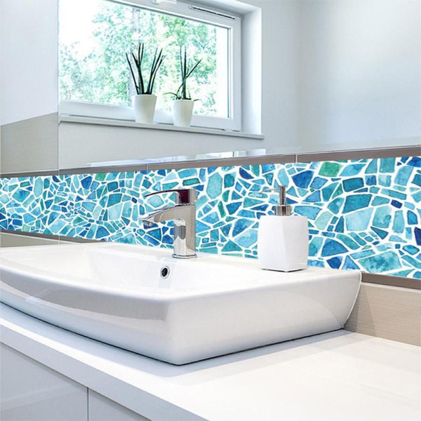 Acheter / Set PVC Imperméable Sticker Mural Salle De Bains Auto Adhésif  Papier Peint Cuisine Mosaïque Carrelage Autocollants Pour Murs Decal Home  ...
