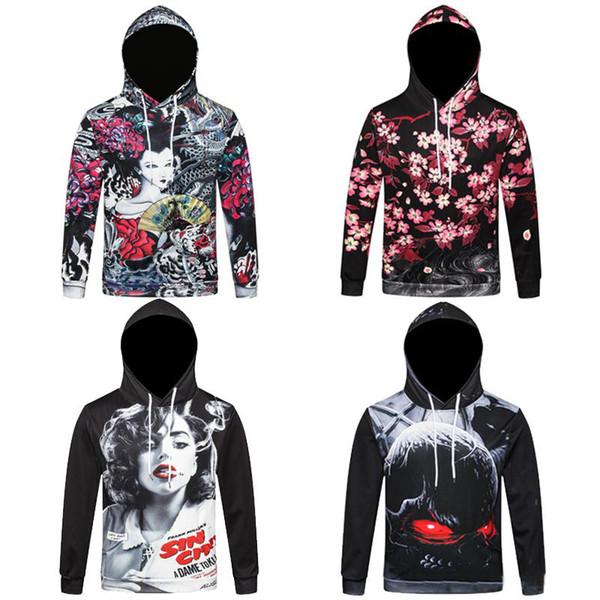 2019 New Style 3D Print Hoodies Men Women Floral Hooded Sweatshirt Hip Hop Distressed Hoodie Coat Outerwear