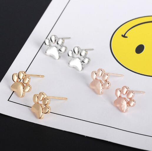 Hollow-out pet cat dog lovely pawprint ear stud Puppy Memorial Mini earring cute animal footprint rose gold silver plated earrings
