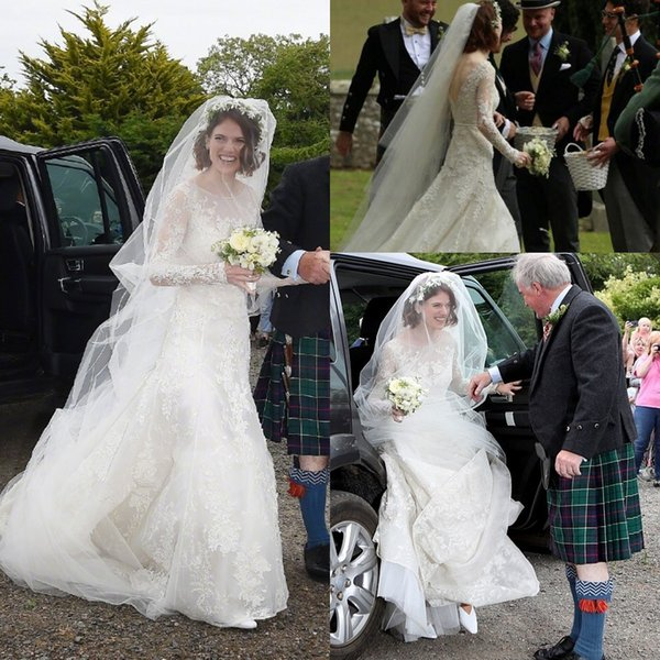 Rose Leslie Vintage Lace beach Princess Wedding Dresses 2019 Sheer Neck Long Sleeve Plus Size Country Backless Wedding Bridal Dress