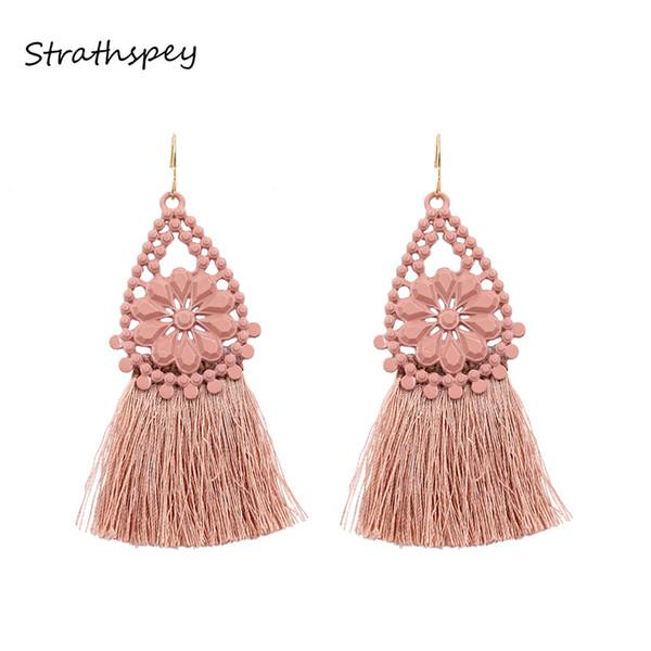 STRATHSPEY Vintage Hollow Flower Waterdrop Tassel Earrings For Women Boho Black/Pink Long Fringe Dangle Earring Fashion Jewelry
