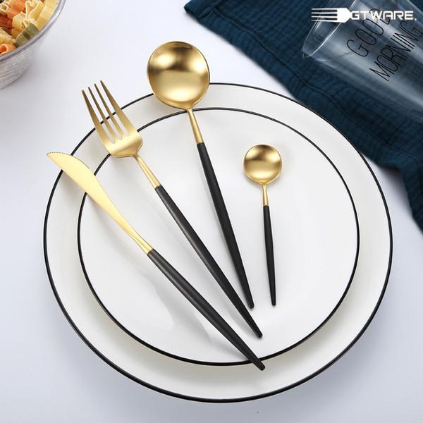 4PCS/Set Tableware Stainless Steel Spoons Forks Knives Kit White Gold Flatware Sets Food Grade Cutlery For Dinner Table Black White
