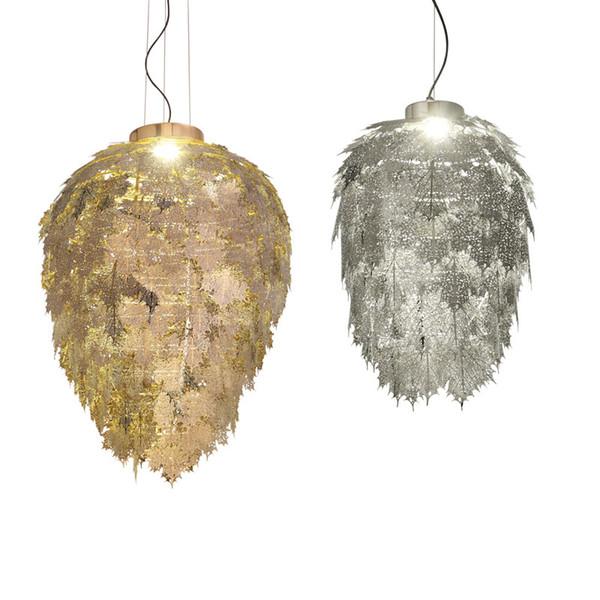Modern Gold Silver Metal Pendant Light Maple Leaves Suspension LED Handing Lamp New Pendant Lamp Home Lighting H006