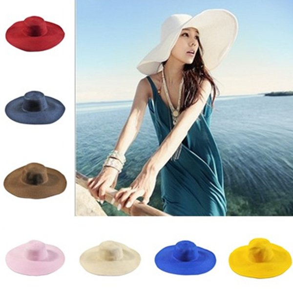 a2b12b090 Fashion Summer Women Sun Hat Cap Ladies Wide Brim Straw Hats Outdoor  Foldable Beach Panama Church Hat Wholesale 2018 Flat Brim Hats Mens Straw  Hats ...