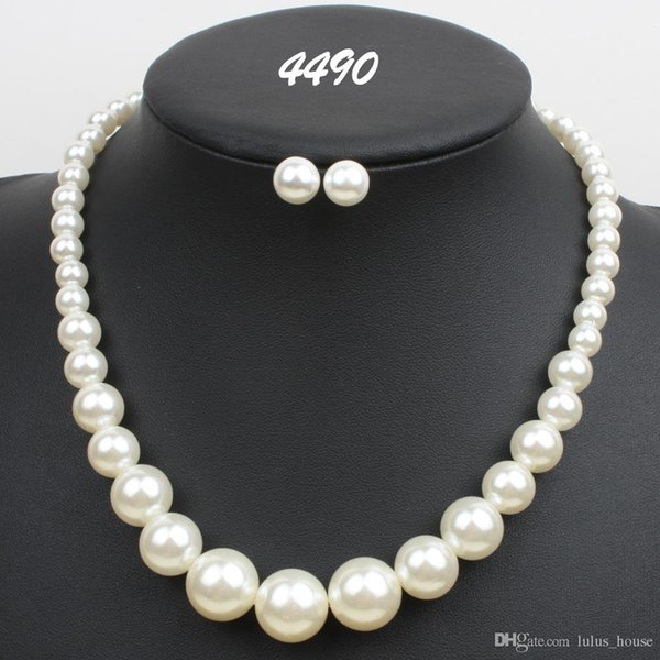 Hot Sale In Stock Wedding Jewelry Accessories Pearls Bridal NeNew Arrival In Stock ckless and Earring Sets Cheap Flower Party Jewelry Set
