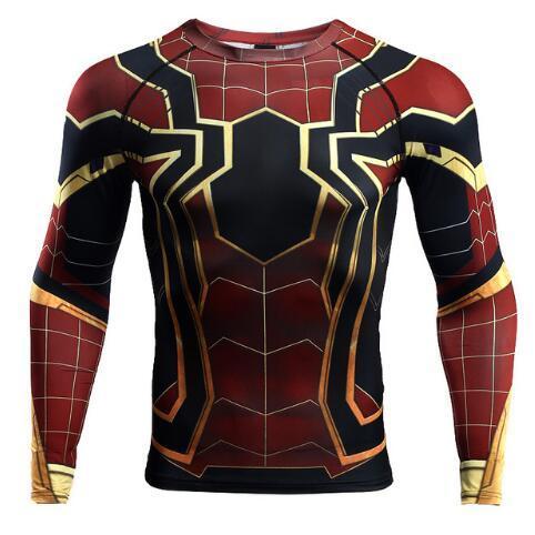 Raglanärmel Spiderman 3D Gedruckte T-Shirts Männer Komprimierungshemden Langarm Crossfit Tops T-Shirts Turnhallen Fitness T-Shirt Rashguard