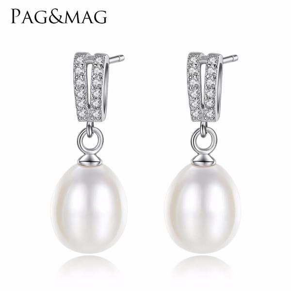 PAGMAG элегантный стерлингового серебра 925 маленькие серьги аксессуары для женщин Gliterring ZirconFreshwater Перл мотаться серьги
