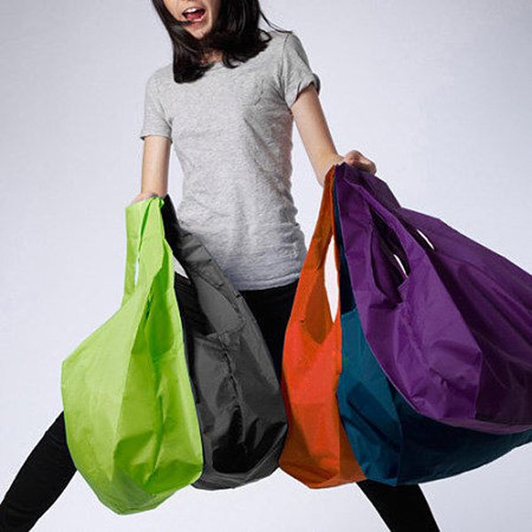 1 peças Portátil dobrável saco de compras Grandes sacos de nylon saco Grosso Dobrável À Prova D 'Água ripstop Bolsa de Ombro Bolsa Frete grátis