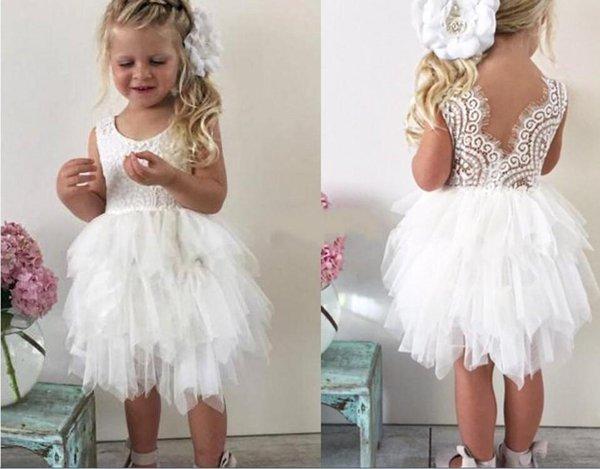 2018 Knee length Short Flower Girls' Dresses For Wedding white Cute Lace Tutu skirt Little Girls Princess Baby Pageant Dresses