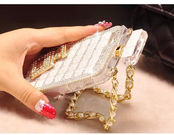 Fancy Cover Girl Luxury Funda para teléfono con botella de perfume para Iphone 6plus Rhinestone Funda para teléfono celular para Iphone 6s Plus