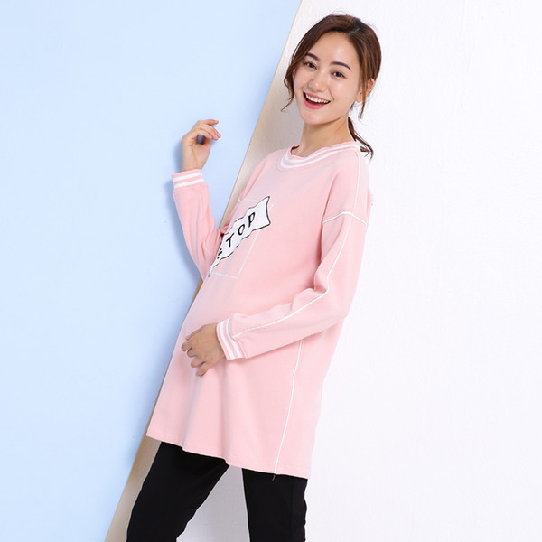 Spring And Summer Maternity Korean Cartoon Pink Tees Spring Loose T-Shirt Pregnant Women Leisure Long Sleeve Blouse