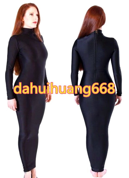 Lycra Noir Spandex Femmes Robe Sacs De Corps Costumes Sac De Couchage Outfit Sexy Femmes Robe Habillée Costumes Halloween Party Cosplay Costumes DH118
