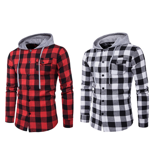 Fashion Men Red Plaid Hooded Sweatshirt Casual Cotton Soft Hoodies Sweatshirts Slim Long Sleeve Pullover Hiphop Scotland Shirt