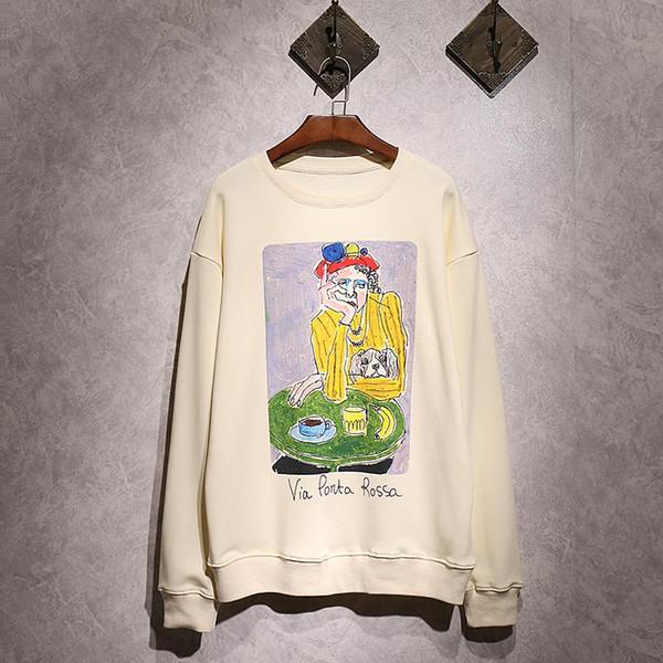 18ss Europe Italy Via Ponta Rossa Painting Autumn Sweatshirt Fashion Men Women Luxury Cotton Pullover Hoodie Jumpers