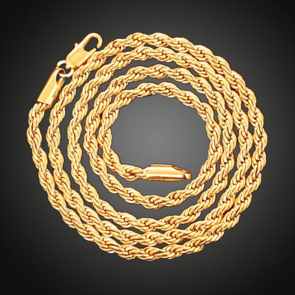 Mode 4 MM 925 Sterling Silver Rope Chain Necklace Mousseux Bijoux 18K Plaqué Or Twist Chain Collier Party DIY Bijoux