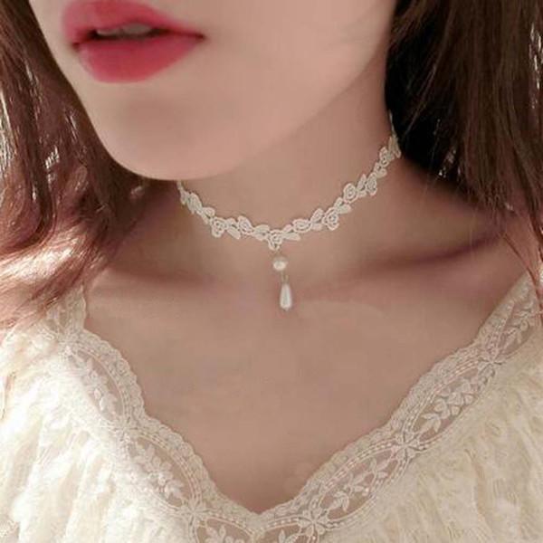 collier ras de cou dentelle blanc