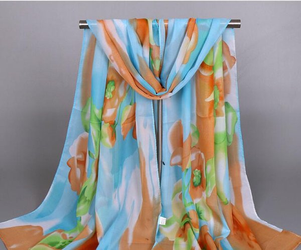Fashion hot women Silk scarves printing chiffon flowers A variety of color Spring, summer, silk scarves women scarf XQ185
