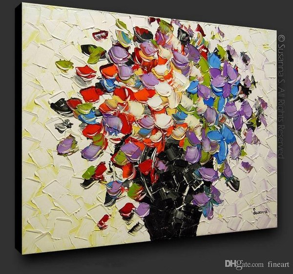 Decorative handmade flower oil painting palette knife texture wall art modern furniture decorations home unique gifts Kungfu Art