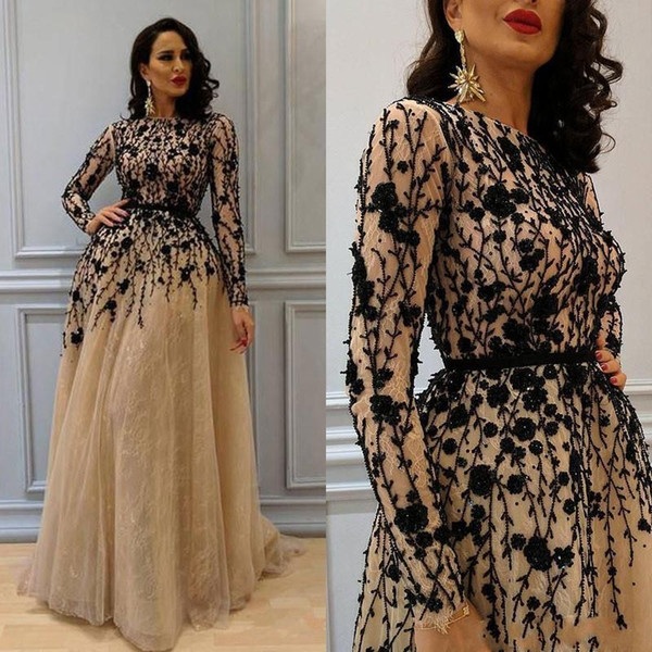 f4e70c80a67 2018 Gorgeous Beading Prom Gown with Long Sleeves Lace Crew Neckline Evening  Dresses Champagne Elegant Womens Dress Plus Size Formal Wear