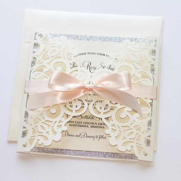 Blush Ivory Shimmer Silver Glitter Laser Cut Wedding Invitations, Customized Invites for Party with Envelope Free Shipped by DHL