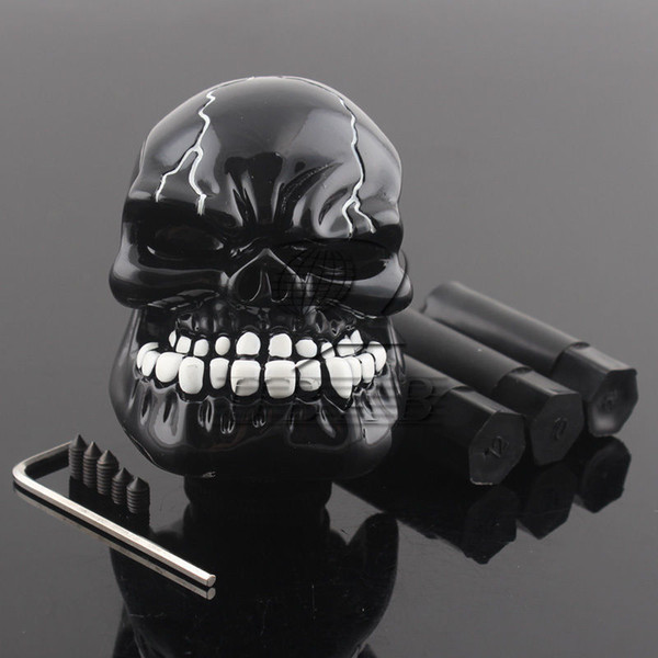 top popular Manual Operation Car Gear Shift Knob Shifter Lever Resin Skull Black Custom New 2021