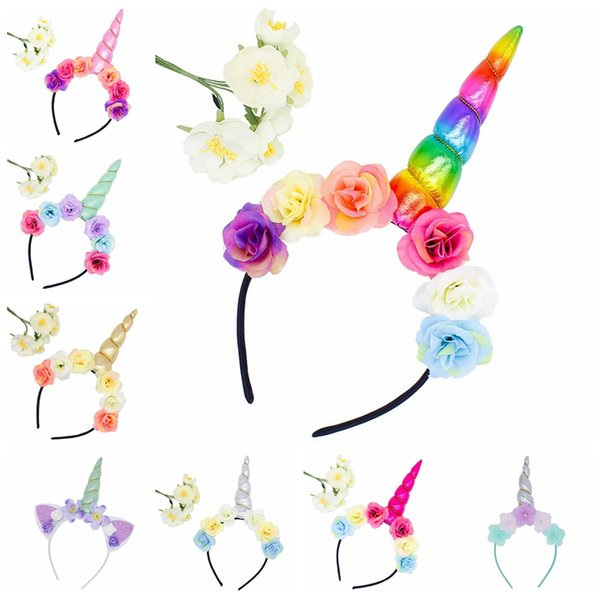 Unicorn Hair Headbands Cute Princess Birthday Party Children Sticks Kids Floral Toddler Hair Ribbon Baby Hair Accessories Cosplay Wholesale