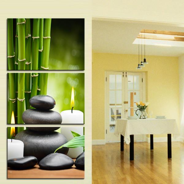 Acheter Images Vertes De Bambou Avec SPA Zen Stone Bougies Imprimer Sur Mur  De Toile Art Pour La Maison Salle De Bains Salon Chambre Décor Drop Ship ...