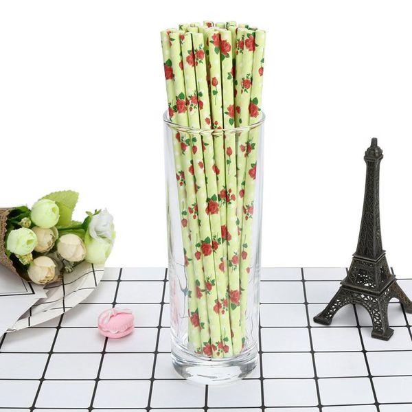 25pcs/lot Rose Printing Paper Straws for Birthday Wedding Decorative Party Environmental Chevron Creative Drinking Straws