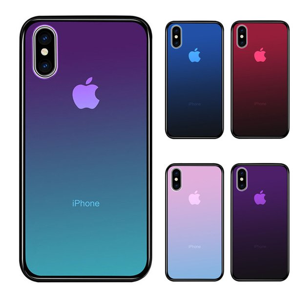 Clear Tempered Glass Case For iPhone XS Max XR 7 8 X 6 Plus Gradient Color Blue Ray Aurora Skin Back Phone Cover
