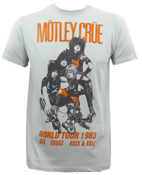 Details zu Autêntico CRUZ MOTLEY Vintage World Tour 1983 Slim-Fit T-Shirt Prateado Unisex Engraçado