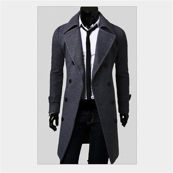 Moda Marca Trench Coat Homens V-pescoço Preto Cinza Khaki Tamanho M-4XL Casacos compridos e Casaco Mens Slim Outdoor Jacket Cotton Blend Men Coats