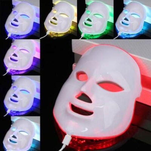 7 colori Light Photon LED maschera facciale viso elettrico Cura della pelle Terapia di ringiovanimento Anti-aging Anti-acne pelle sbiancante stringere CCA9974 10 pz