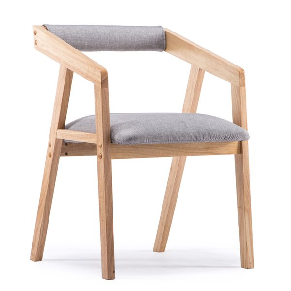 New Nordic coffee chair arm-armed wood cotton dining chair leather bar chair leisure sofa living room furniture