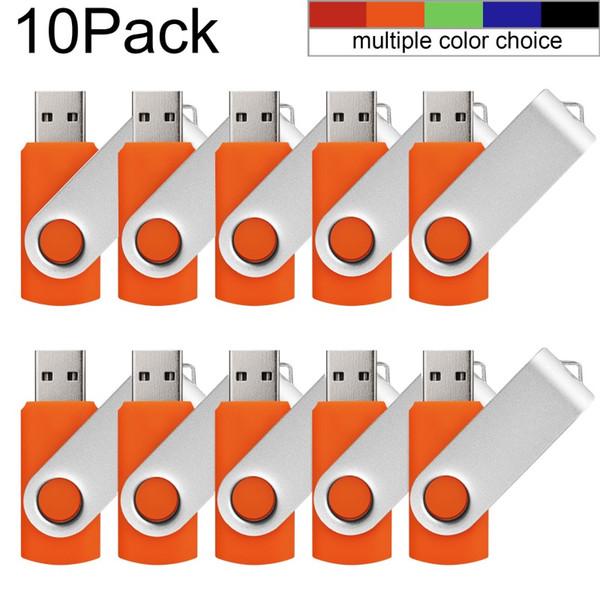 Orange Bulk 10PCS Metal Rotating USB 2.0 Flash Drive Pen Drive Thumb Memory Stick 64M 128M 256M 512M 1G 2G 4G 8G 16G 32G for PC Laptop Mac