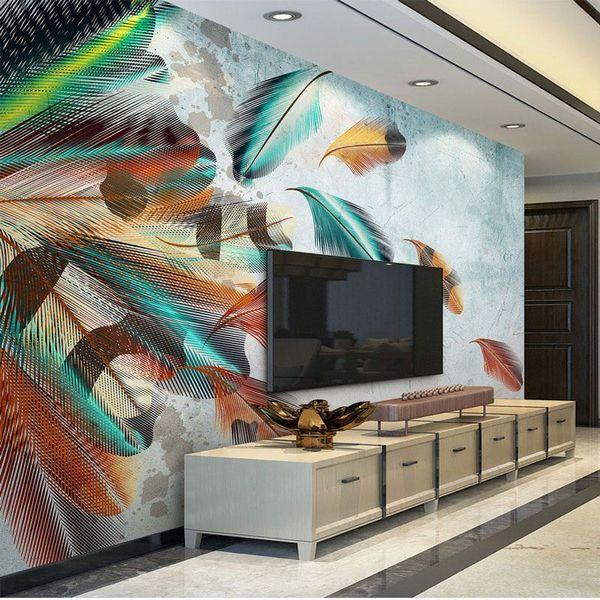Großhandel Wohnzimmer Schlafzimmer TV Tapeten Moderne 3D Wand Dekor Kunst  Wandbild Feder Malerei Fototapete Selbstklebende Vinyl Optional Von ...