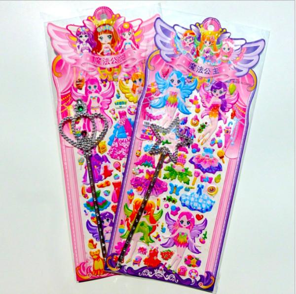Hot 20 unids / lote moda hermosa princesa niña pegatina juguetes educativos para niños juguetes decorativos hechos a mano 3D