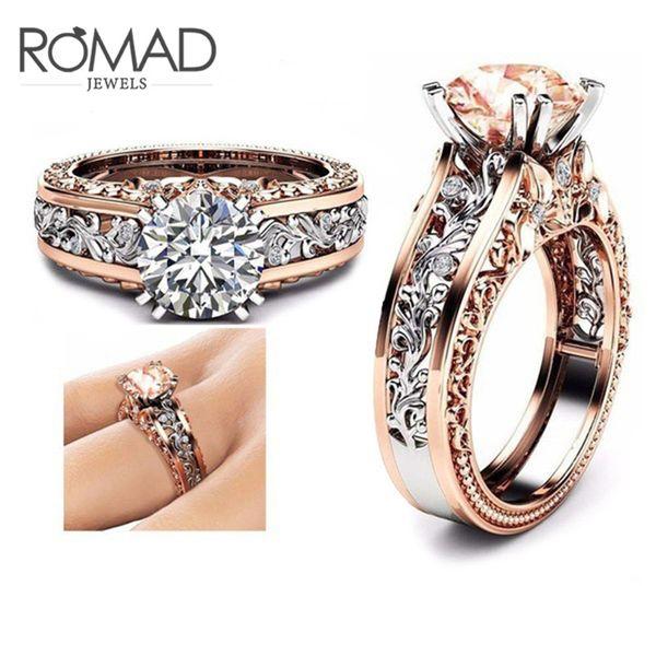 Tamaño 5 a 12 anillos de boda para las mujeres de acero inoxidable Champagne ronda circón encanto hombres anillo 2018 nuevo hombre joyería de compromiso G5