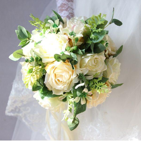 Champagne Roses Brides Bouquet Wedding Flowers Bouquet White ...