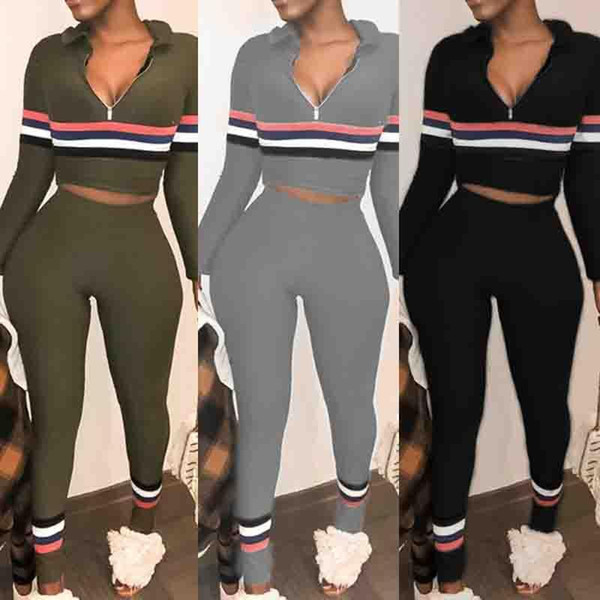 2018 Slim fit two piece set Long sleeve stripe print hooded T-shirt Tops high waist pants Trousers sexy suit Tracksuit women 2 Piece Outfits