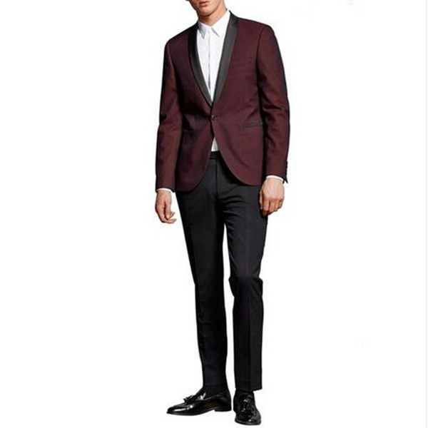 Fashion Two Piece Slim Fit Burgundy Groom Suits Wedding Tuxedos Custom Made Groomsmen Tuxedo Men Suits