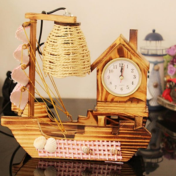 Unique Sailboat Clock with Night light vintage wood rattan crafts LED Table Lamp clock Home bedroom bedside Ornaments