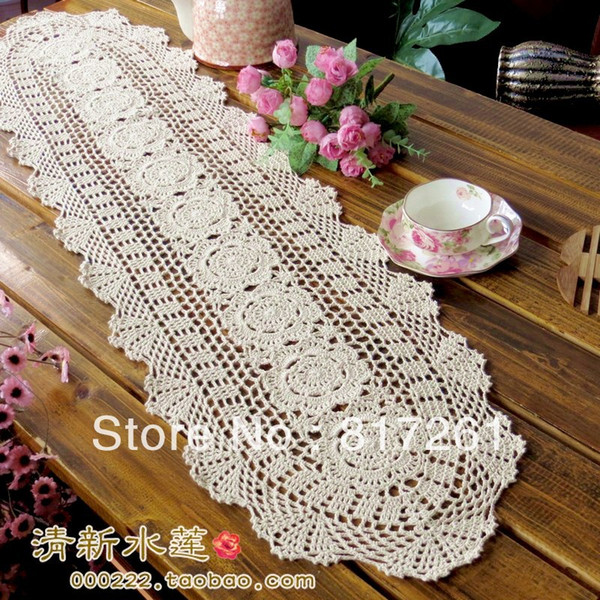 2015 new free shipping oval lace flowers table runner for dinnng table crochet tv cabinet cover cutout coon table cloth cover