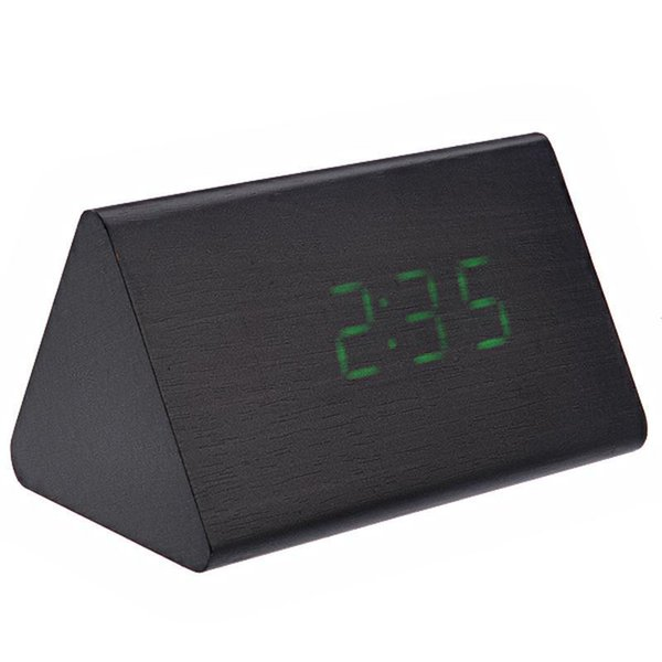 012-10 e Shaped 3D clock Voice Activated Green LED Digital Wood Wooden Alarm Clock with Date /Temperature (Black)
