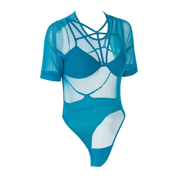One Piece Swimsuit Women Sexy Swimwear Halter Mesh Bikini Lace Mesh Hollow Out Beachwear Bodysuit Bathing Suit Monokini M-XL