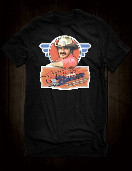 New Black Burt Reynolds Smokey And The Bandit T-Shirt Cult Film Tee Bo Darville Funny free shipping Unisex tee