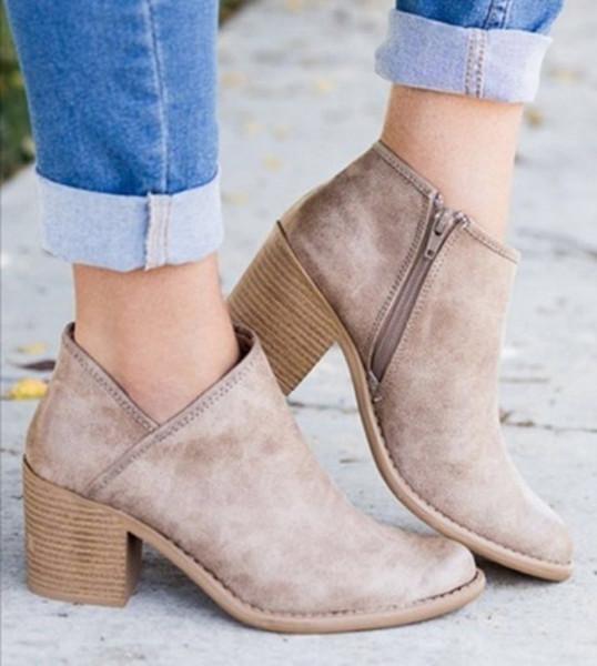 2018 Chic Automne Femmes Chaussures Rétro À Talons Hauts Bottines Femme Bloc Mid Talons Casual Botas Mujer Booties Feminina Plus Taille 43