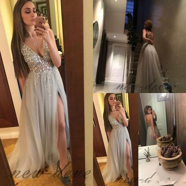 Bling Gray Deep V Neck Evening Dress Split Beads Sequin Party Formal Prom Gown Custom Made Special Occasion Gowns Sexy Backless